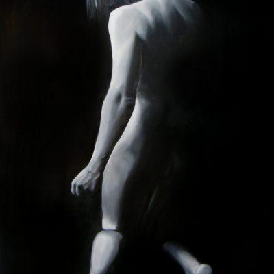 De entre las sombras. óleo sobre tabla. 120x92