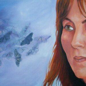 Retrato de Ana Fernánadez. Óleo y papel sobre tela (40 x 70 cm)